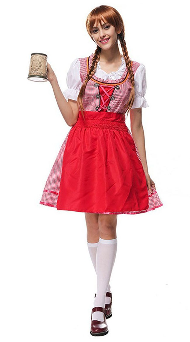 bayerisches dirndl oktoberfest kleidung damen rot. Black Bedroom Furniture Sets. Home Design Ideas