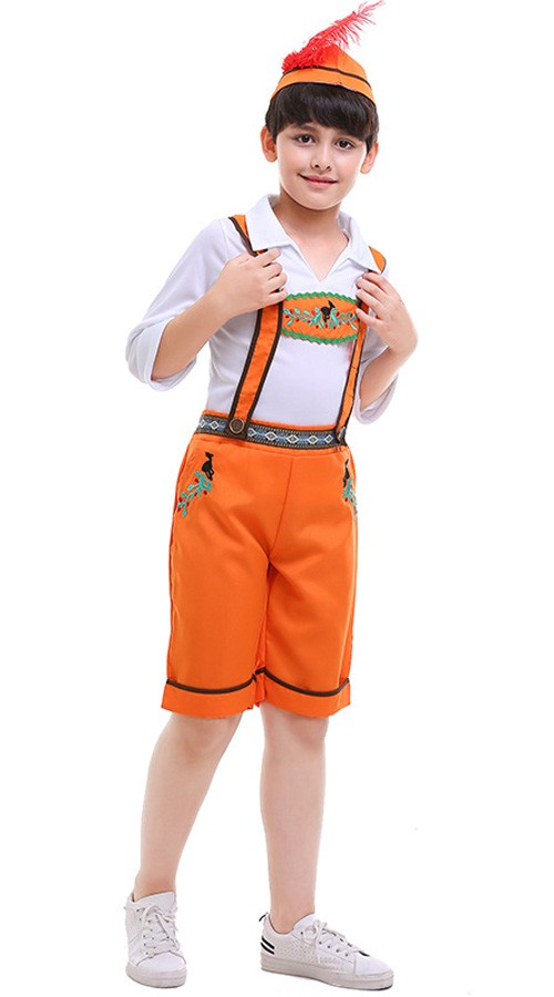 Landjungen Oktoberfest Lederhosen Kostüm Kinder Trachtenhemd