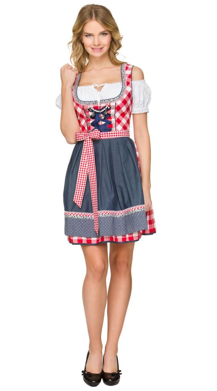 Trachtenkleid Oktoberfest Kleidung Mini Dirndl Kleid Rot