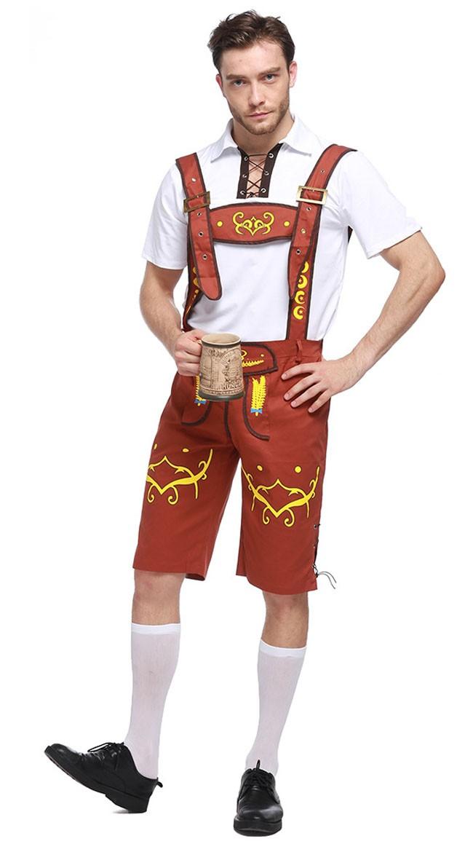 Bayern Oktoberfest Lederhose Kostüm Gelb Herren