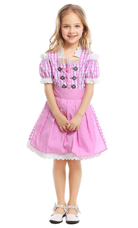Oktoberfest Kostüm für Kinder Rosa Mädchenkleid