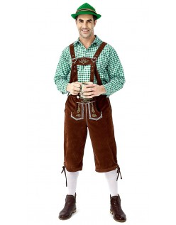 Trachtenhemd Bayerische Oktoberfest Lederhose Kostüm Grün Braun