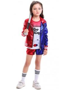 Glänzender Druck Suicide Squad Harley Quinn Kostüm Kinder Set