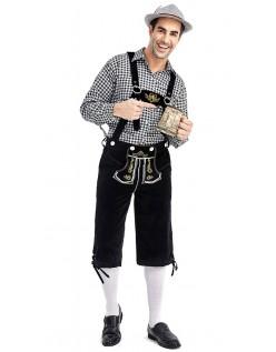 Herren Trachtenhemd Bayerische Oktoberfest Lederhose Kostüm Schwarz Schwarz