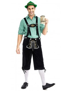 Herren Trachtenhemd Bayerische Oktoberfest Lederhose Kostüm Grün Schwarz