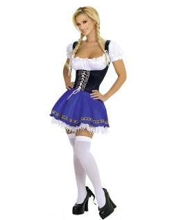 Blaue Oktoberfest Dirndl Kostüm Damen