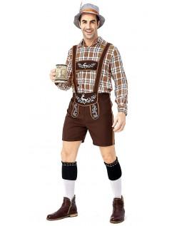 Herren Trachtenhemd Oktoberfest Lederhose Kostüm Kariert Gedruckt