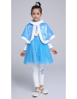 Winterkinder Frozen Prinzessin Elsa Kap Mit Kapuze Kurzes Blau