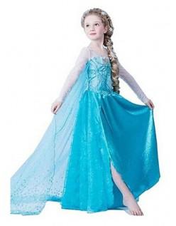 Eiskönigin Elsa Kostüm Kinder Pailletten Blau