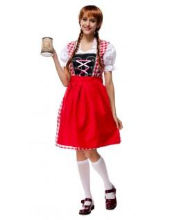 Bayrisches Trachtenkleid Oktoberfest Kleidung Damen Rot