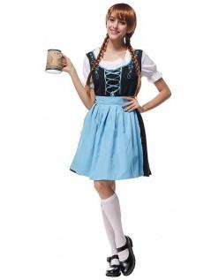 Gesticktes Oktoberfest Kostüm für Damen Blau
