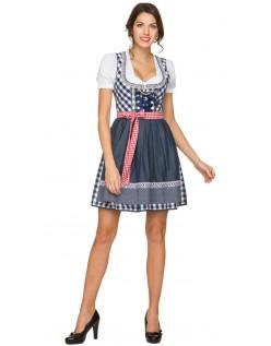 Trachtenkleid Oktoberfest Kleidung Mini Dirndl Kleid Blau