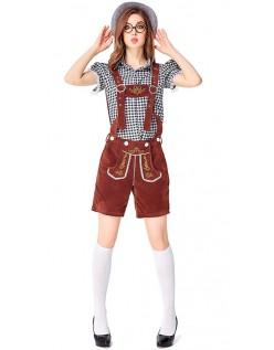 Damen Oktoberfest Trachtenlederhose Kostüme Schwarz Braun