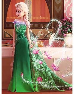 Grünes Eiskönigin Elsa Kostüm Kinder