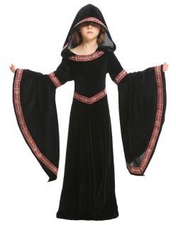 Halloween Vampir Kostüm Kinder Mittelalterliches Kostüm Kapuzenrobe Schwarz