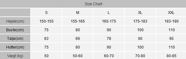 Morphsuits / Skinsuits Størrelsesguide